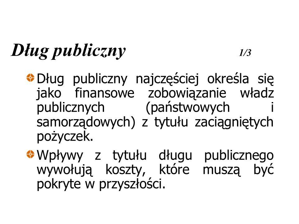 Dług publiczny 1/3 Dług publiczny najczęściej określa się jako finansowe zobowiązanie władz publicznych (państwowych i samorządowych) z tytułu zaciągniętych pożyczek.