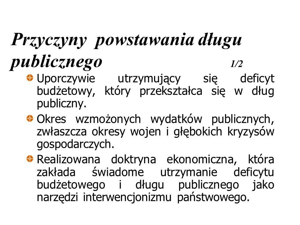 Historia długu publicznego w Polsce 1/3 Polska odziedziczyła po okresie gospodarki centralnie planowanej dług publicznych przekraczający 80% PKB.