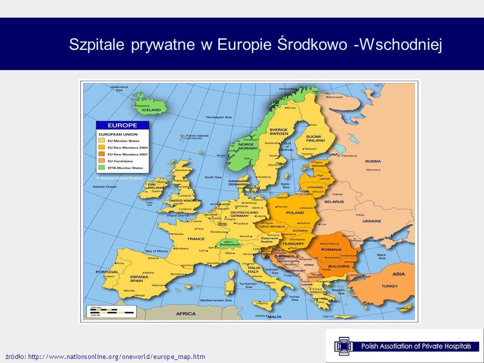 Szpitale prywatne w Europie Środkowo -Wschodniej źródło : http://www.nationsonline.org/oneworld/europe_map.htm