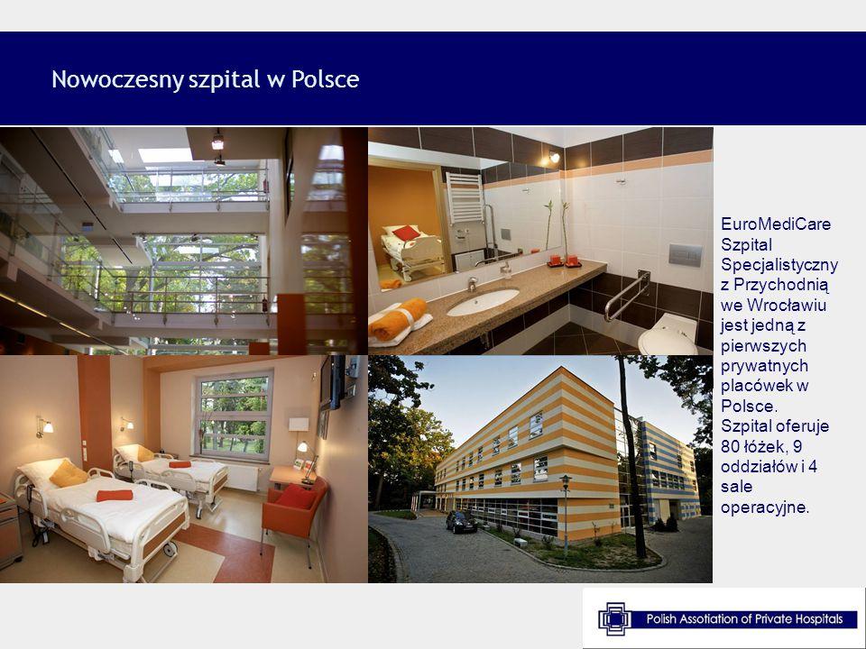 Nowoczesny szpital w Polsce EuroMediCare Szpital Specjalistyczny z Przychodnią we Wrocławiu jest jedną z pierwszych prywatnych placówek w Polsce. Szpi
