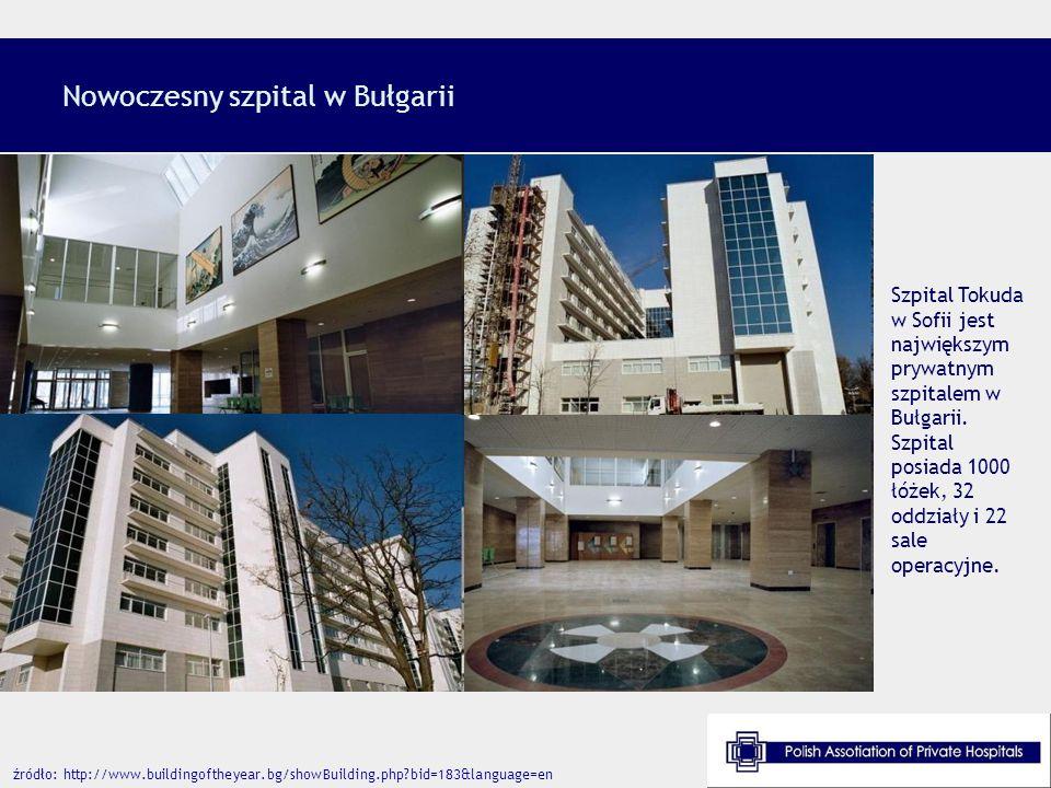 Nowoczesny szpital w Bułgarii Szpital Tokuda w Sofii jest największym prywatnym szpitalem w Bułgarii. Szpital posiada 1000 łóżek, 32 oddziały i 22 sal