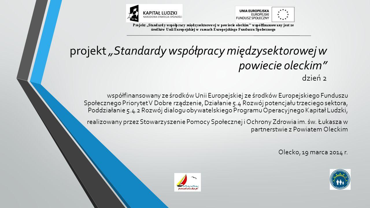 """projekt """"Standardy współpracy międzysektorowej w powiecie oleckim dzień 2 współfinansowany ze środków Unii Europejskiej ze środków Europejskiego Funduszu Społecznego Priorytet V Dobre rządzenie, Działanie 5.4 Rozwój potencjału trzeciego sektora, Poddziałanie 5.4.2 Rozwój dialogu obywatelskiego Programu Operacyjnego Kapitał Ludzki, realizowany przez Stowarzyszenie Pomocy Społecznej i Ochrony Zdrowia im."""
