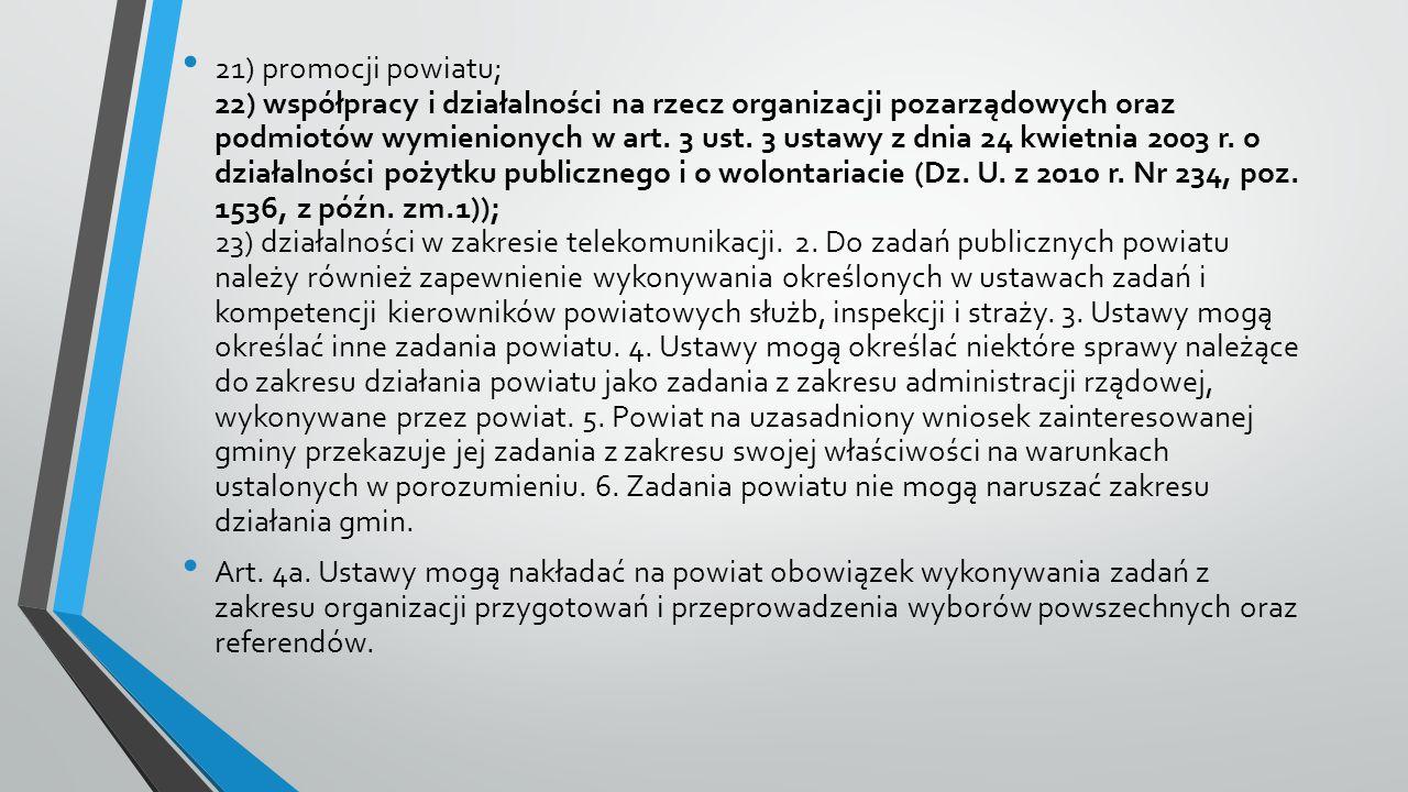 21) promocji powiatu; 22) współpracy i działalności na rzecz organizacji pozarządowych oraz podmiotów wymienionych w art.