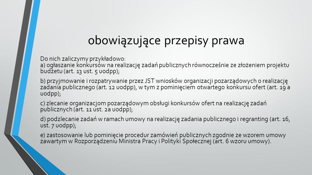 obowiązujące przepisy prawa Do nich zaliczymy przykładowo: a) ogłaszanie konkursów na realizację zadań publicznych równocześnie ze złożeniem projektu budżetu (art.
