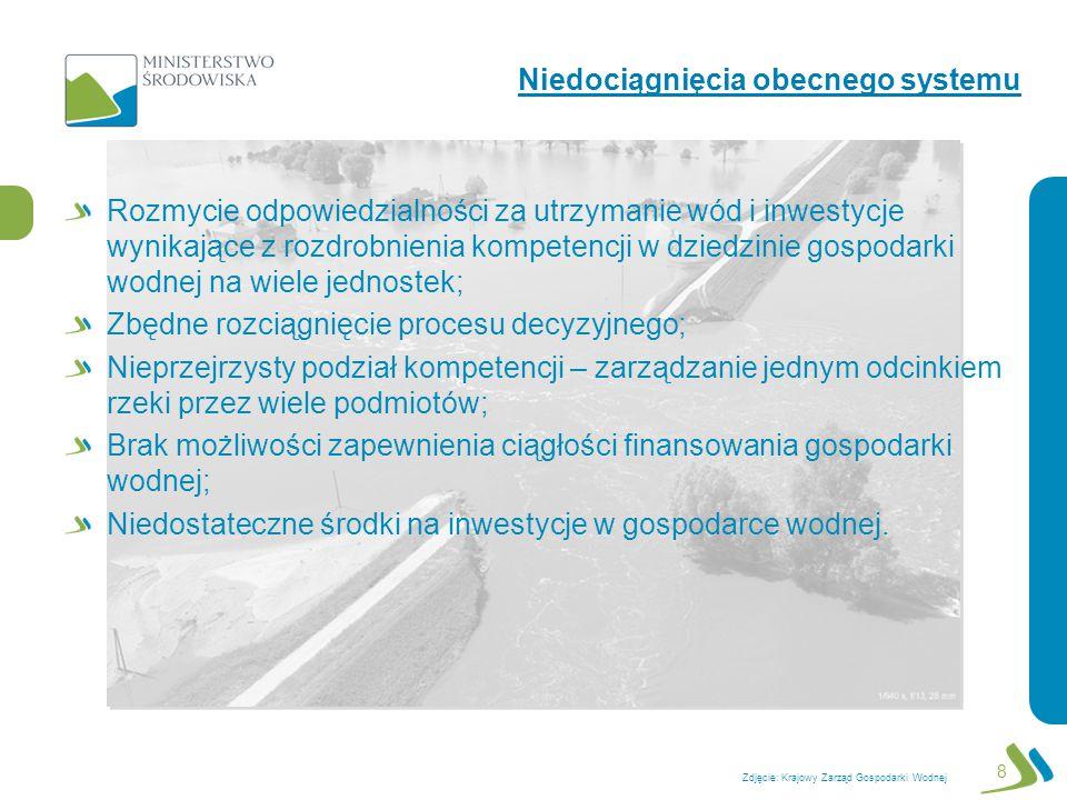 Oddzielenie kompetencji w zakresie: inwestycji w gospodarce wodnej oraz utrzymania mienia Skarbu Państwa związanego z gospodarką wodną (zarządy dorzeczy); od administrowania i planowania (urzędy gospodarki wodnej regionów wodnych); Zniesienie: dyrektorów regionalnych zarządów gospodarki wodnej oraz likwidacja rzgw; dyrektorów urzędów żeglugi śródlądowej oraz likwidacja urzędów żeglugi śródlądowej; Utworzenie: urzędów gospodarki wodnej regionów wodnych; zarządów dorzecza Wisły i Odry jako państwowych osób prawnych; Kompetencje dyrektorów rzgw i użś dyrektorzy urzędów gospodarki wodnej regionów wodnych.