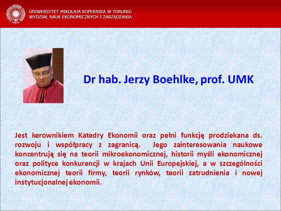 Jest kerownikiem Katedry Ekonomii oraz pełni funkcję prodziekana ds.