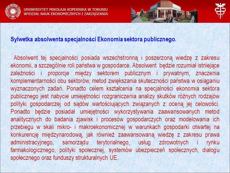 Sylwetka absolwenta specjalności Ekonomia sektora publicznego.
