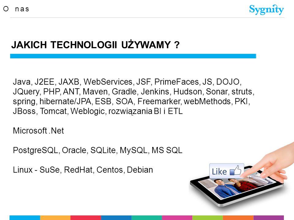 O nas JAKICH TECHNOLOGII UŻYWAMY ? Java, J2EE, JAXB, WebServices, JSF, PrimeFaces, JS, DOJO, JQuery, PHP, ANT, Maven, Gradle, Jenkins, Hudson, Sonar,