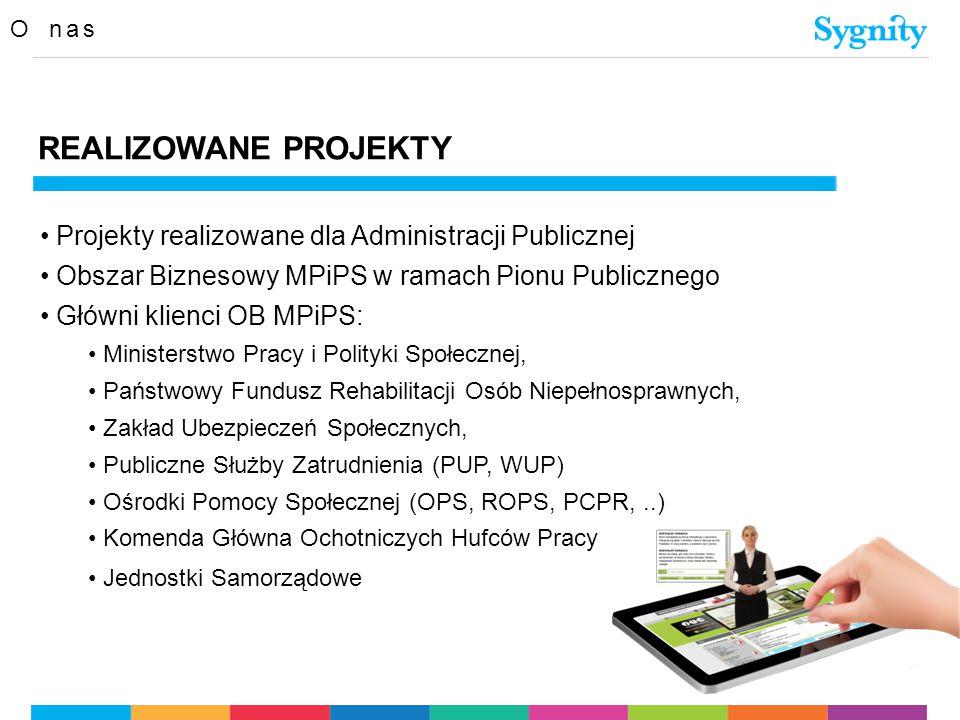 O nas REALIZOWANE PROJEKTY Projekty realizowane dla Administracji Publicznej Obszar Biznesowy MPiPS w ramach Pionu Publicznego Główni klienci OB MPiPS