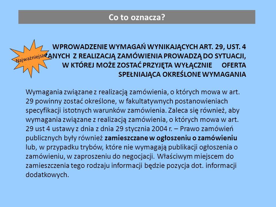 WPROWADZENIE WYMAGAŃ WYNIKAJĄCYCH ART. 29, UST.