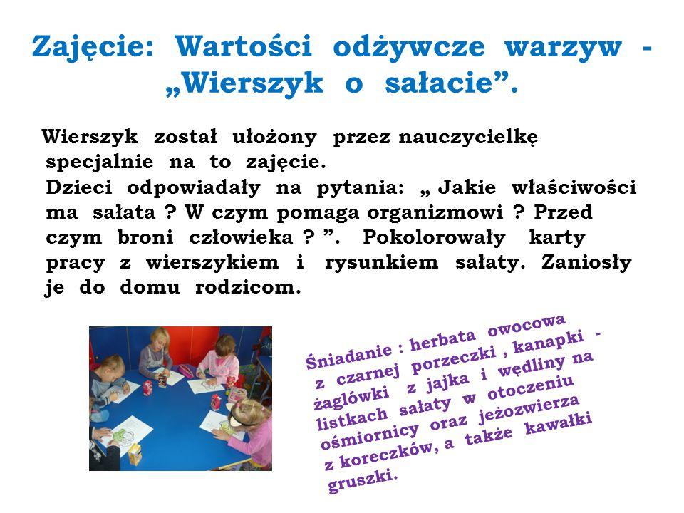 """""""Wierszyk o sałacie Z.Polityło Sałata na śniadanie, bo bakteriobójcze ma działanie."""