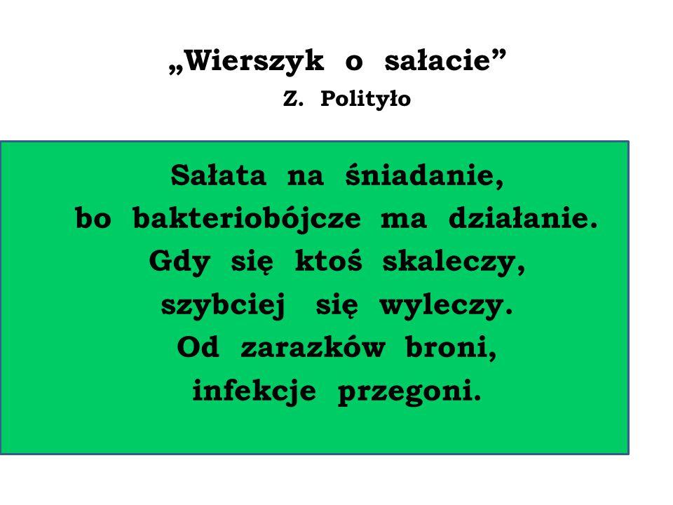 """""""Wierszyk o sałacie"""" Z. Polityło Sałata na śniadanie, bo bakteriobójcze ma działanie. Gdy się ktoś skaleczy, szybciej się wyleczy. Od zarazków broni,"""