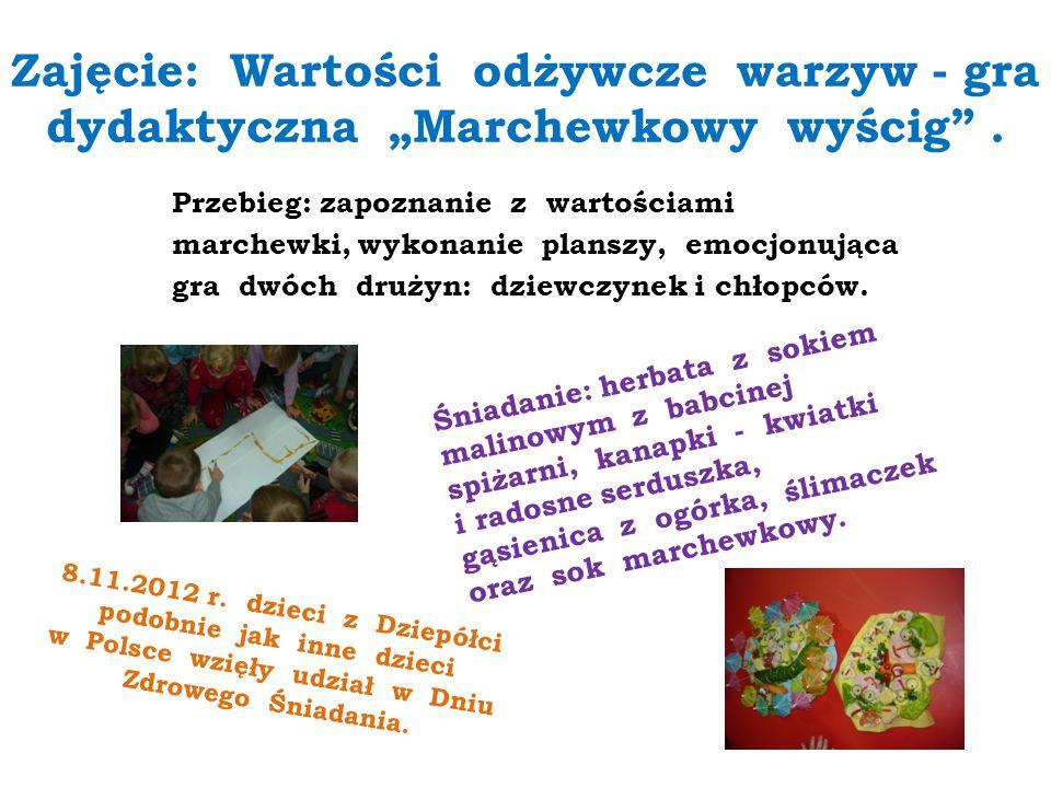 """Zajęcie: Wartości odżywcze warzyw - gra dydaktyczna """"Marchewkowy wyścig"""". Przebieg: zapoznanie z wartościami marchewki, wykonanie planszy, emocjonując"""