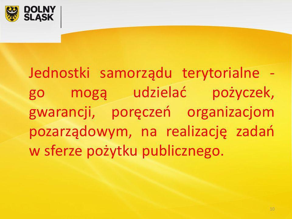 Jednostki samorządu terytorialne - go mogą udzielać pożyczek, gwarancji, poręczeń organizacjom pozarządowym, na realizację zadań w sferze pożytku publicznego.
