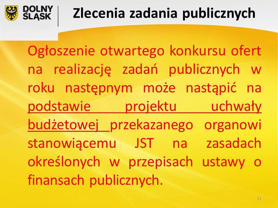 Zlecenia zadania publicznych Ogłoszenie otwartego konkursu ofert na realizację zadań publicznych w roku następnym może nastąpić na podstawie projektu uchwały budżetowej przekazanego organowi stanowiącemu JST na zasadach określonych w przepisach ustawy o finansach publicznych.