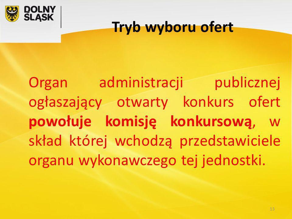 Tryb wyboru ofert Organ administracji publicznej ogłaszający otwarty konkurs ofert powołuje komisję konkursową, w skład której wchodzą przedstawiciele organu wykonawczego tej jednostki.