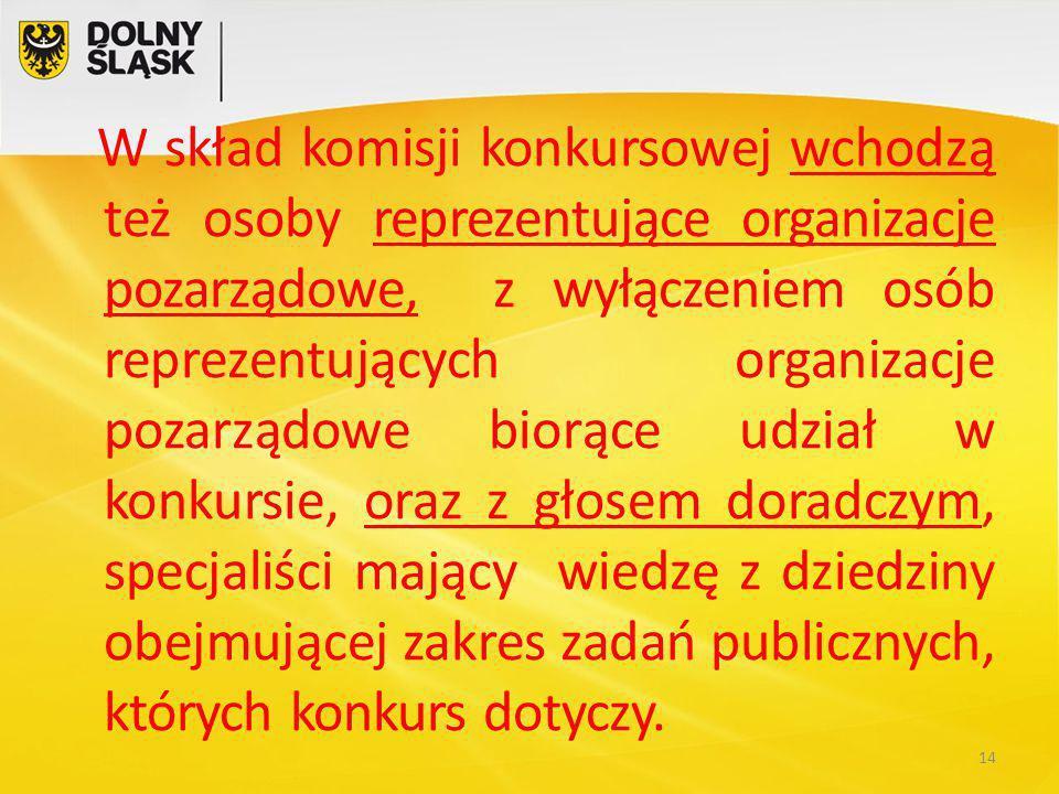 W skład komisji konkursowej wchodzą też osoby reprezentujące organizacje pozarządowe, z wyłączeniem osób reprezentujących organizacje pozarządowe biorące udział w konkursie, oraz z głosem doradczym, specjaliści mający wiedzę z dziedziny obejmującej zakres zadań publicznych, których konkurs dotyczy.