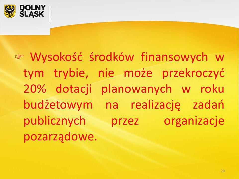  Wysokość środków finansowych w tym trybie, nie może przekroczyć 20% dotacji planowanych w roku budżetowym na realizację zadań publicznych przez organizacje pozarządowe.