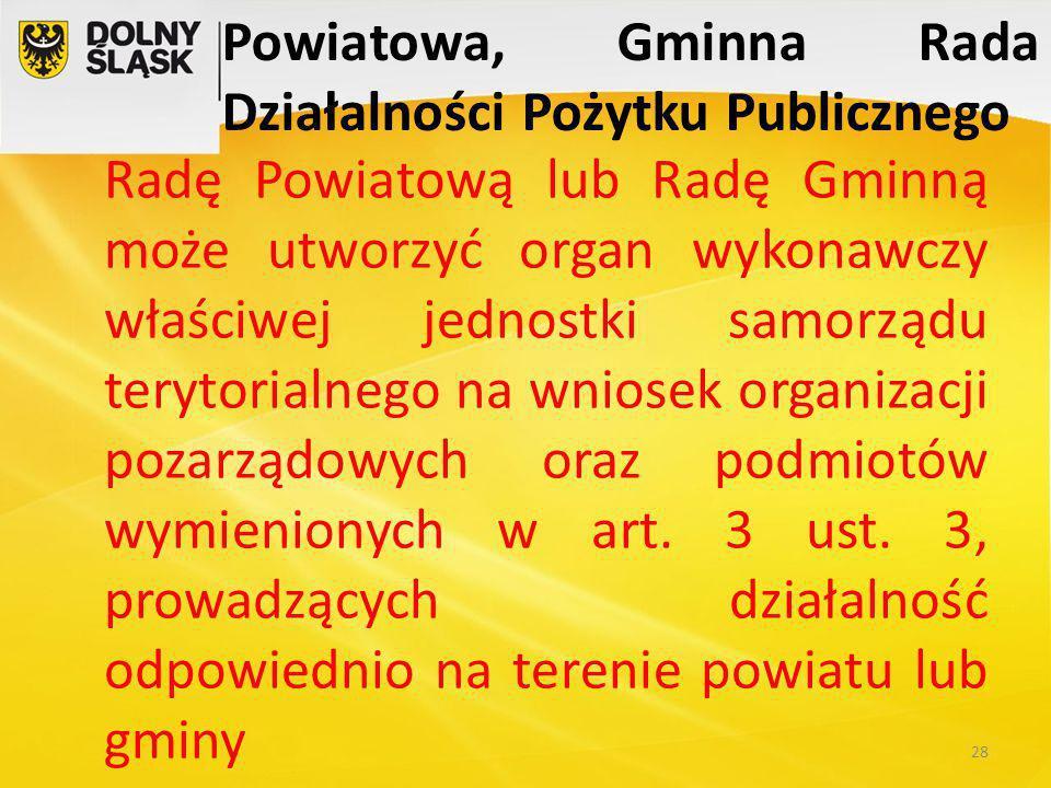Powiatowa, Gminna Rada Działalności Pożytku Publicznego Radę Powiatową lub Radę Gminną może utworzyć organ wykonawczy właściwej jednostki samorządu terytorialnego na wniosek organizacji pozarządowych oraz podmiotów wymienionych w art.