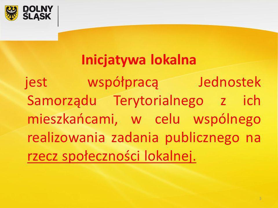Inicjatywa lokalna jest współpracą Jednostek Samorządu Terytorialnego z ich mieszkańcami, w celu wspólnego realizowania zadania publicznego na rzecz społeczności lokalnej.