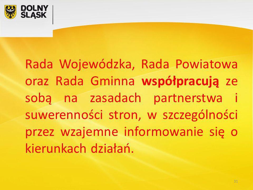 Rada Wojewódzka, Rada Powiatowa oraz Rada Gminna współpracują ze sobą na zasadach partnerstwa i suwerenności stron, w szczególności przez wzajemne informowanie się o kierunkach działań.