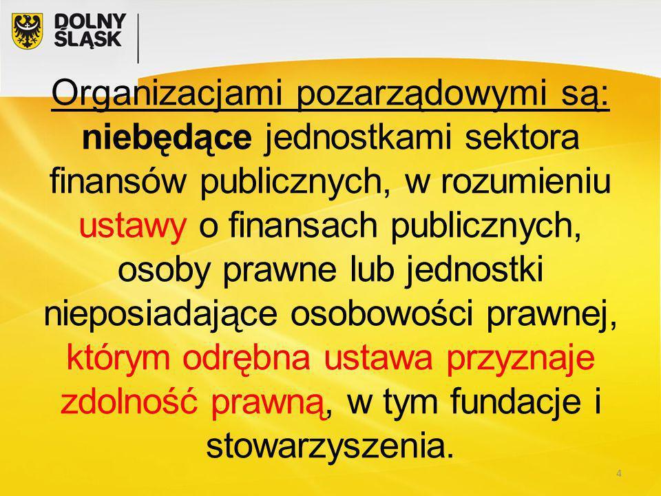Organizacjami pozarządowymi są: niebędące jednostkami sektora finansów publicznych, w rozumieniu ustawy o finansach publicznych, osoby prawne lub jednostki nieposiadające osobowości prawnej, którym odrębna ustawa przyznaje zdolność prawną, w tym fundacje i stowarzyszenia.