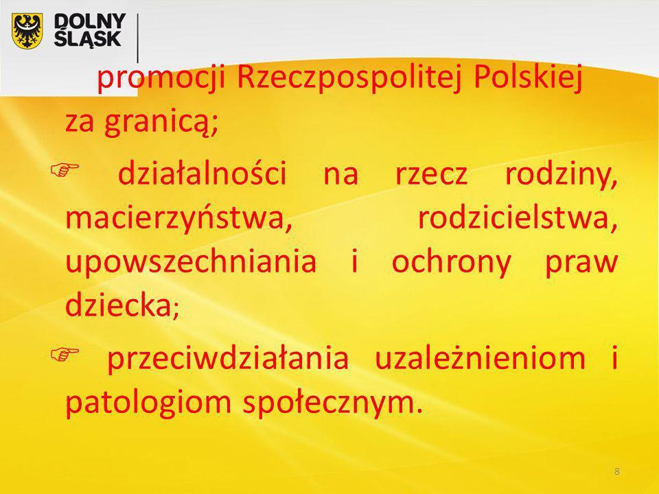 promocji Rzeczpospolitej Polskiej za granicą;  działalności na rzecz rodziny, macierzyństwa, rodzicielstwa, upowszechniania i ochrony praw dziecka ;  przeciwdziałania uzależnieniom i patologiom społecznym.