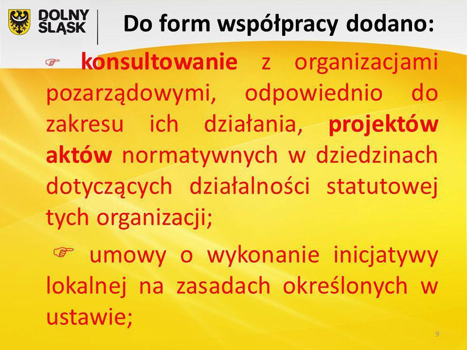 Do form współpracy dodano:  konsultowanie z organizacjami pozarządowymi, odpowiednio do zakresu ich działania, projektów aktów normatywnych w dziedzinach dotyczących działalności statutowej tych organizacji;  umowy o wykonanie inicjatywy lokalnej na zasadach określonych w ustawie; 9