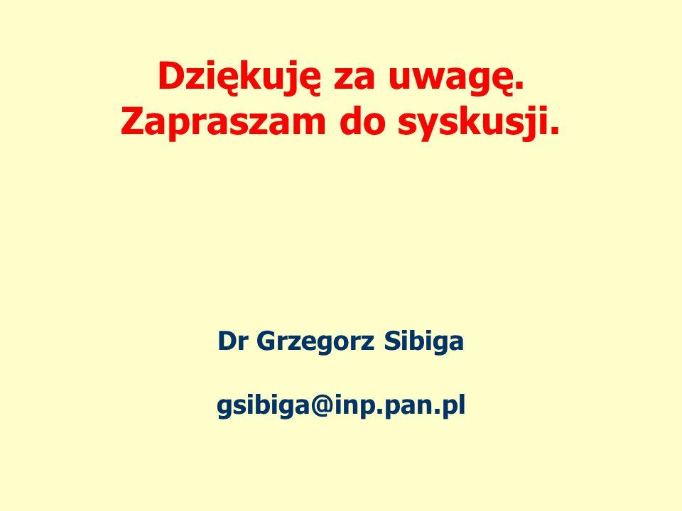 Dziękuję za uwagę. Zapraszam do syskusji. Dr Grzegorz Sibiga gsibiga@inp.pan.pl