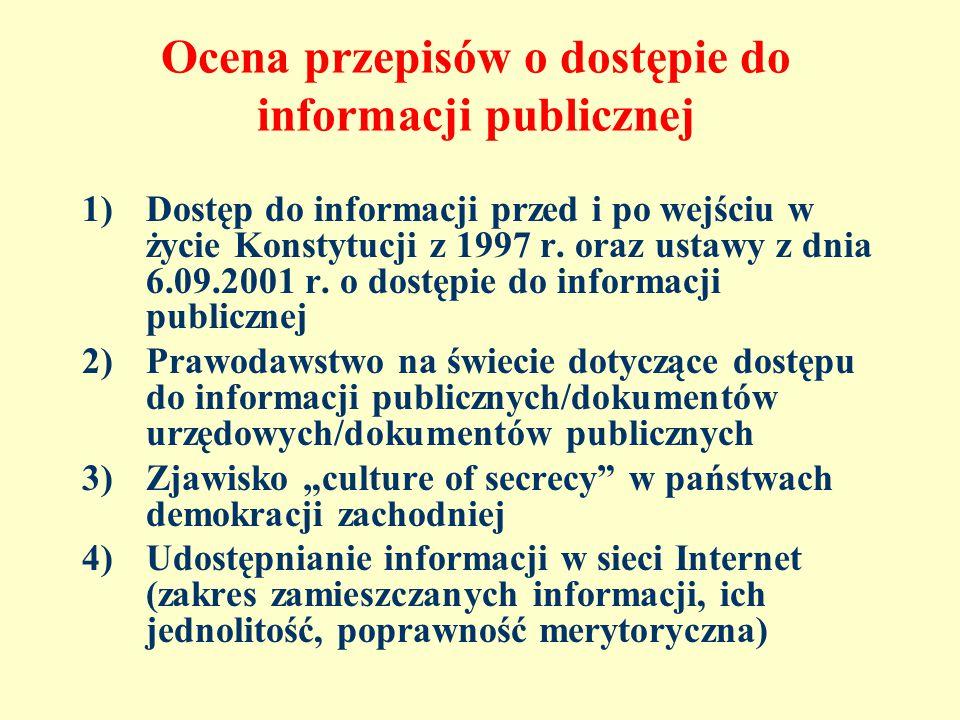 Ocena przepisów o dostępie do informacji publicznej 1)Dostęp do informacji przed i po wejściu w życie Konstytucji z 1997 r.