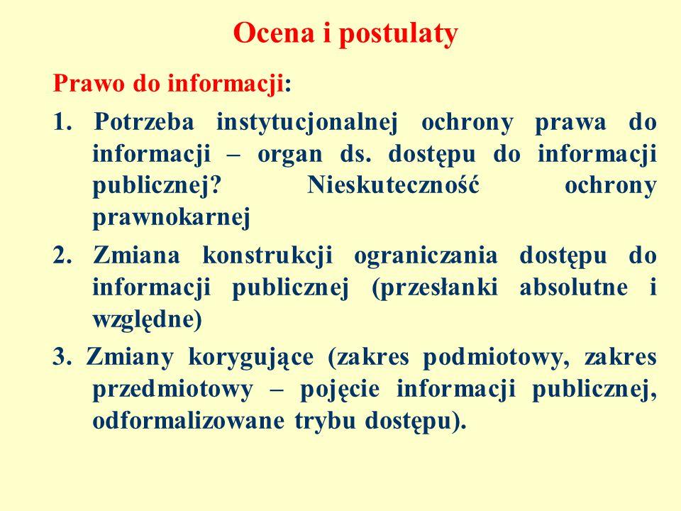 Ocena i postulaty Prawo do informacji: 1.
