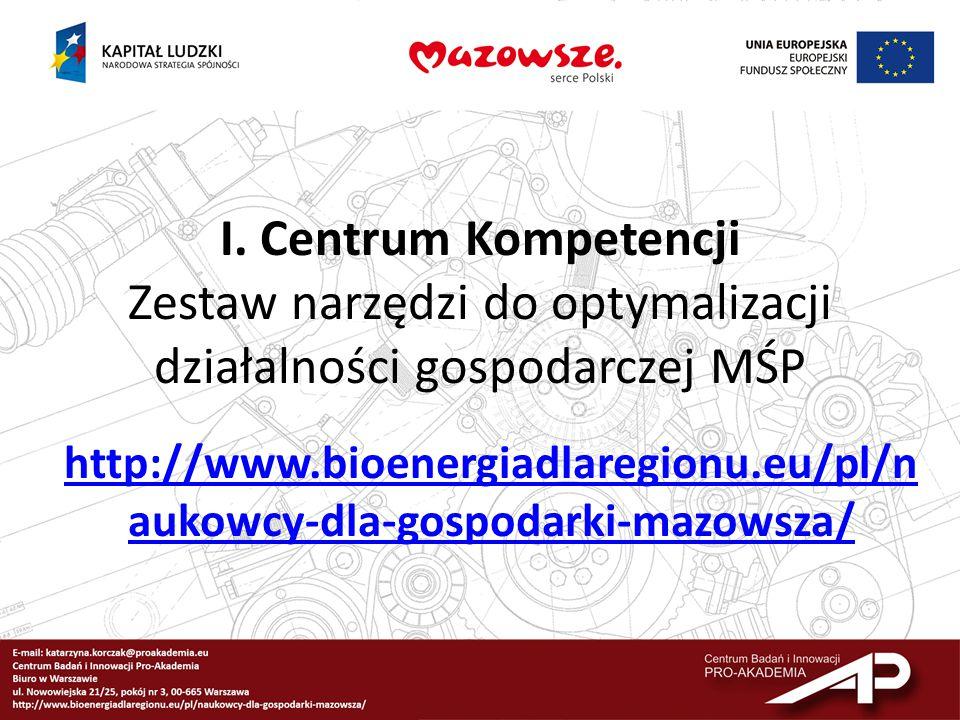 I. Centrum Kompetencji Zestaw narzędzi do optymalizacji działalności gospodarczej MŚP http://www.bioenergiadlaregionu.eu/pl/n aukowcy-dla-gospodarki-m