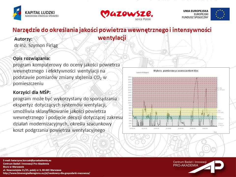 Narzędzie do określania jakości powietrza wewnętrznego i intensywności wentylacji Autorzy: dr inż. Szymon Firląg Opis rozwiązania: program komputerowy