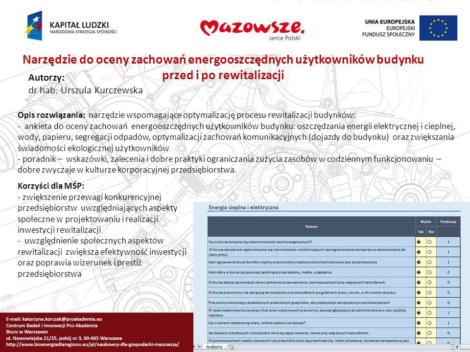 Narzędzie do oceny zachowań energooszczędnych użytkowników budynku przed i po rewitalizacji Autorzy: dr hab. Urszula Kurczewska Opis rozwiązania: narz