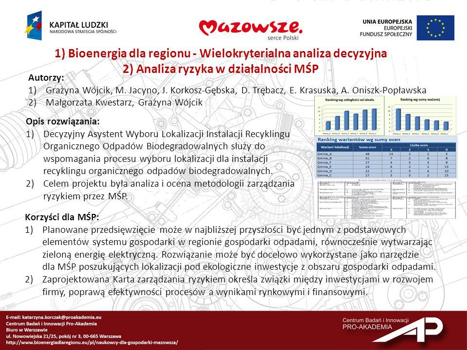 1) Bioenergia dla regionu - Wielokryterialna analiza decyzyjna 2) Analiza ryzyka w działalności MŚP Autorzy: 1)Grażyna Wójcik, M. Jacyno, J. Korkosz-G