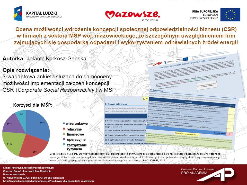 Ocena możliwości wdrożenia koncepcji społecznej odpowiedzialności biznesu (CSR) w firmach z sektora MŚP woj. mazowieckiego, ze szczególnym uwzględnien