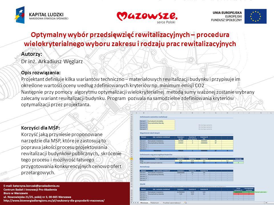 Optymalny wybór przedsięwzięć rewitalizacyjnych – procedura wielokryterialnego wyboru zakresu i rodzaju prac rewitalizacyjnych Autorzy: Dr inż. Arkadi