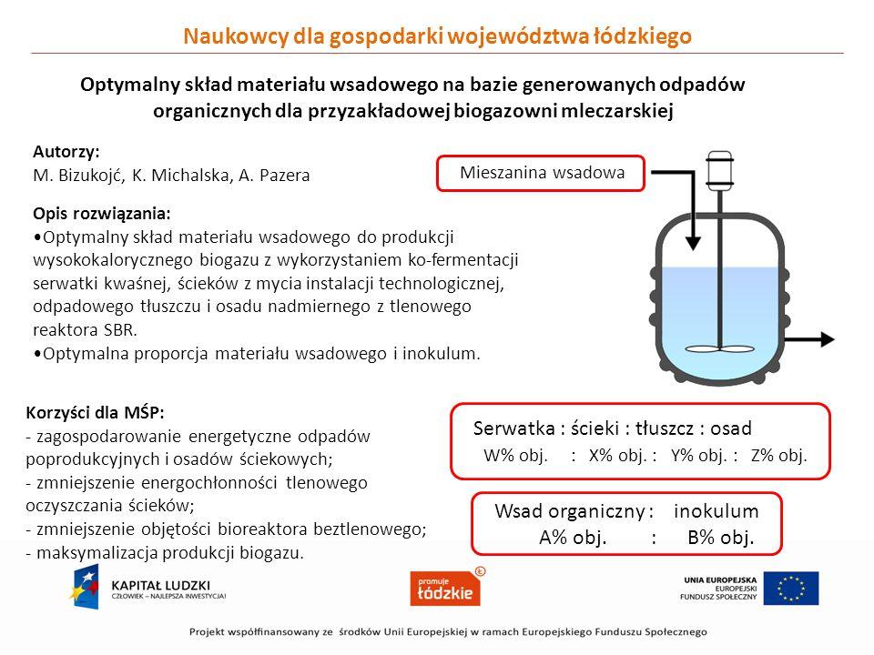 Naukowcy dla gospodarki województwa łódzkiego Optymalny skład materiału wsadowego na bazie generowanych odpadów organicznych dla przyzakładowej biogaz