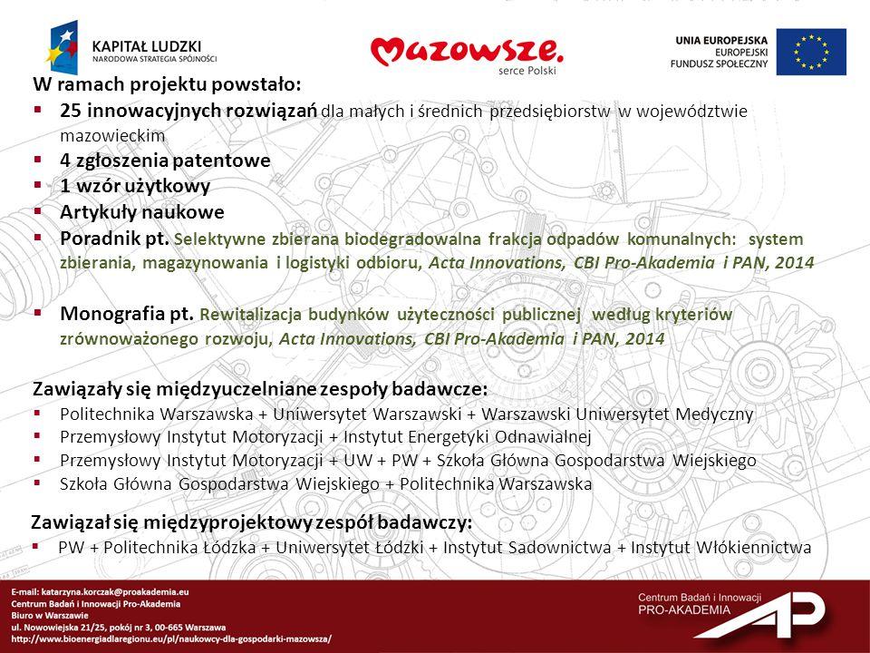W ramach projektu powstało:  25 innowacyjnych rozwiązań dla małych i średnich przedsiębiorstw w województwie mazowieckim  4 zgłoszenia patentowe  1