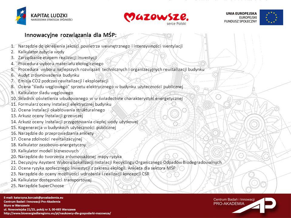Innowacyjne rozwiązania dla MŚP: 1.Narzędzie do określenia jakości powietrza wewnętrznego i intensywności wentylacji 2.Kalkulator zużycia wody 3.Zarzą