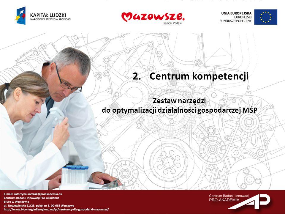 2.Centrum kompetencji Zestaw narzędzi do optymalizacji działalności gospodarczej MŚP