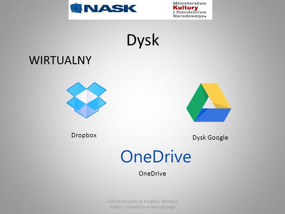 Dysk WIRTUALNY Dropbox Dysk Google OneDrive Dofinansowano ze środków Ministra Kultury i Dziedzictwa Narodowego
