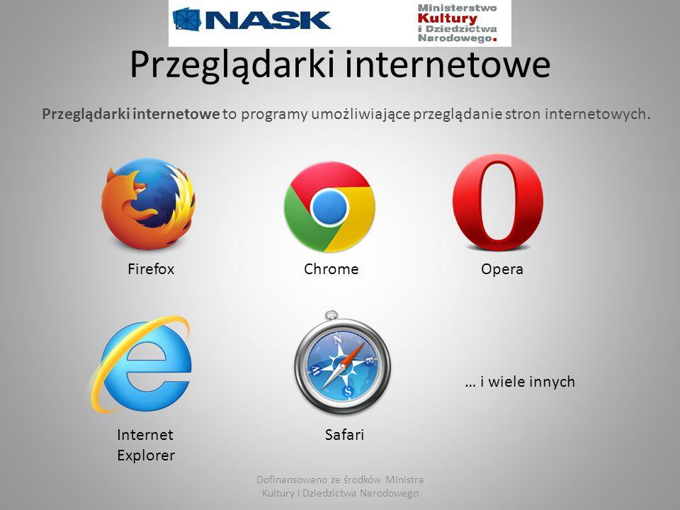 Przeglądarki internetowe … i wiele innych FirefoxChromeOpera Internet Explorer Safari Dofinansowano ze środków Ministra Kultury i Dziedzictwa Narodowe