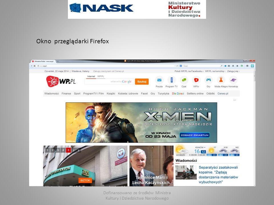 Dofinansowano ze środków Ministra Kultury i Dziedzictwa Narodowego Okno przeglądarki Firefox