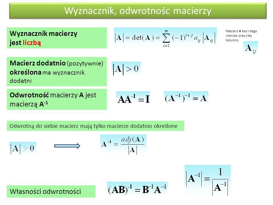 Macierz dodatnio (pozytywnie) określona ma wyznacznik dodatni Wyznacznik macierzy jest liczbą Odwrotność macierzy A jest macierzą A -1 Odwrotną do sie