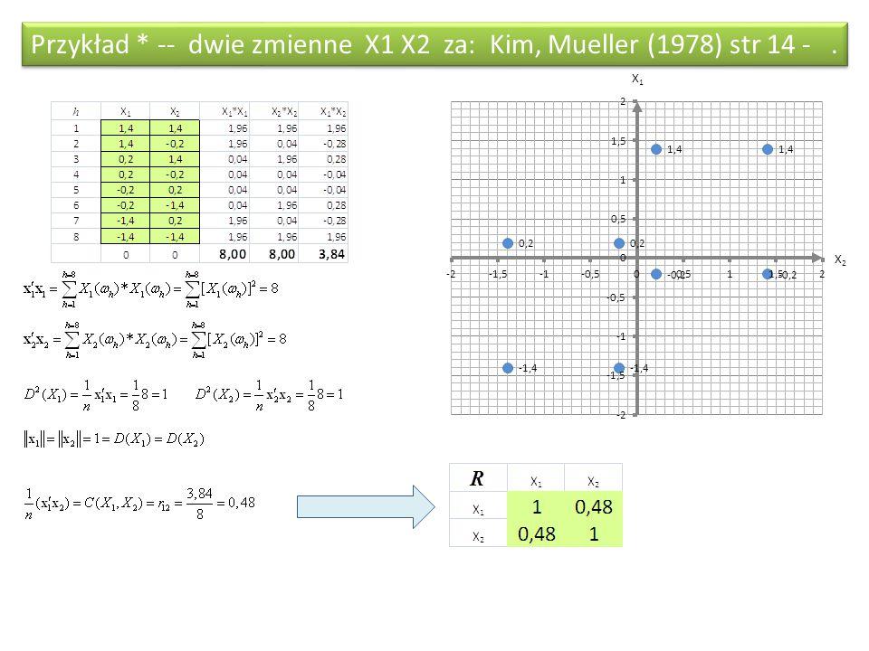X2X2 X1X1 Przykład * -- dwie zmienne X1 X2 za: Kim, Mueller (1978) str 14 -.