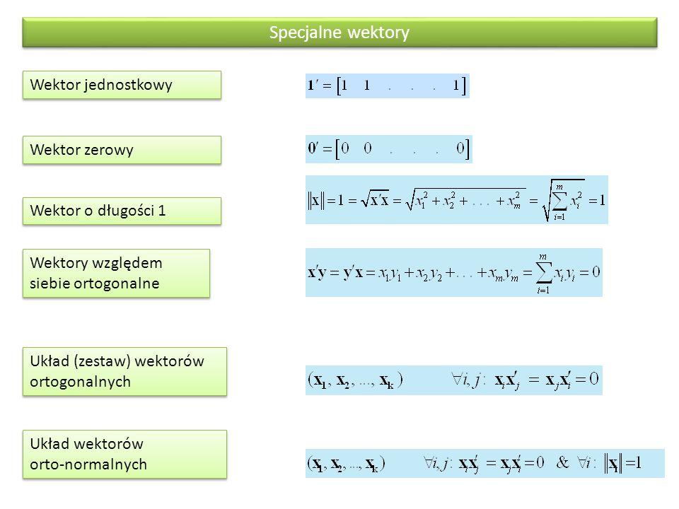 Wektory względem siebie ortogonalne Wektor jednostkowy Układ (zestaw) wektorów ortogonalnych Układ wektorów orto-normalnych Specjalne wektory Wektor z