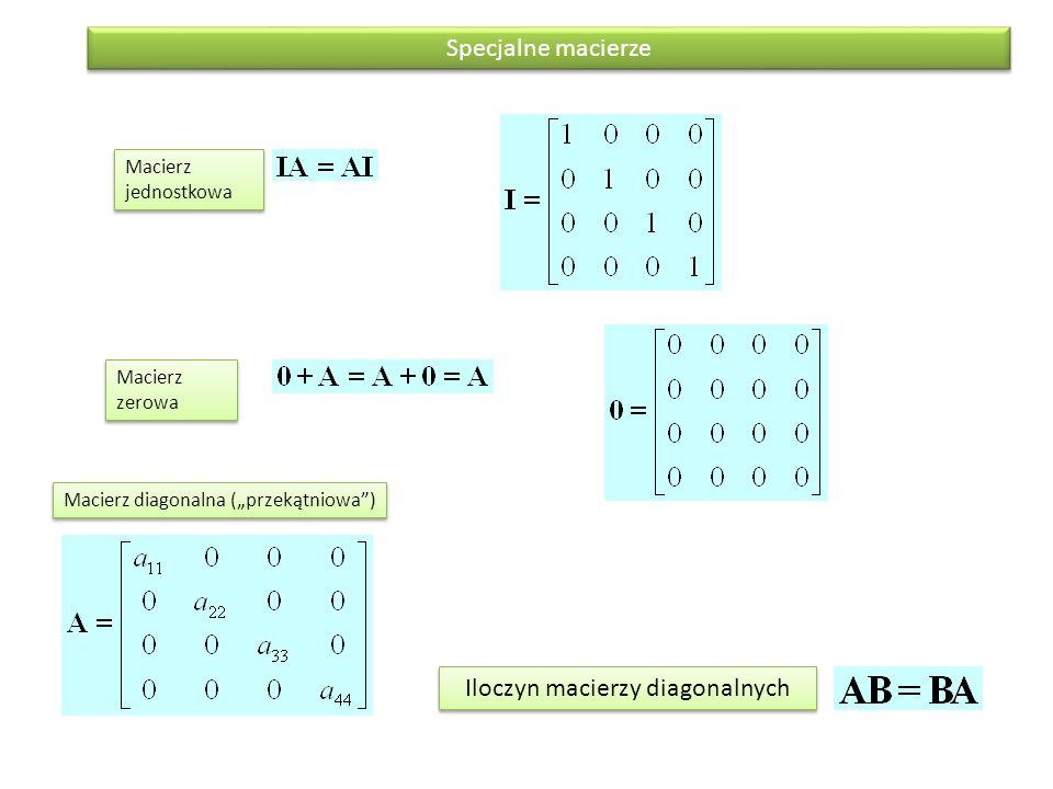 """Macierz jednostkowa Macierz zerowa Macierz diagonalna (""""przekątniowa"""") Specjalne macierze Iloczyn macierzy diagonalnych"""