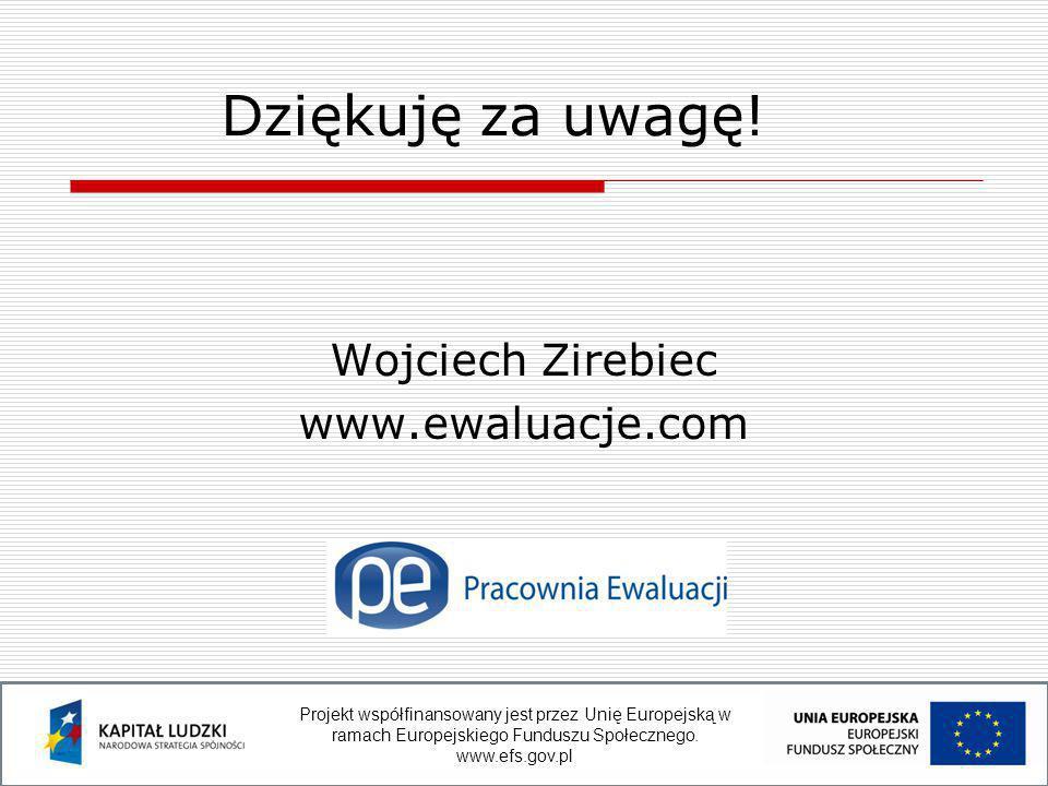 Wojciech Zirebiec www.ewaluacje.com Dziękuję za uwagę.