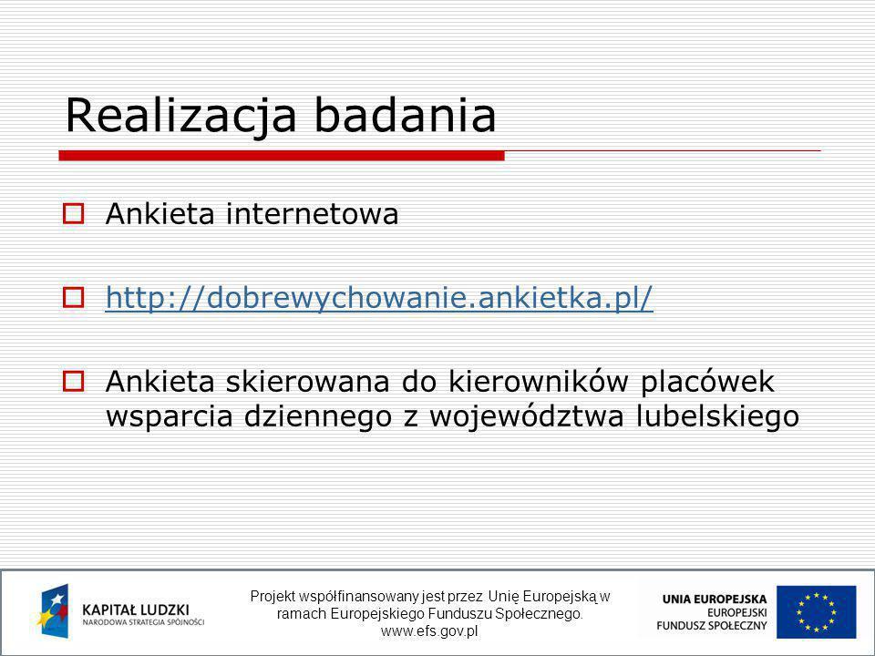  Ankieta internetowa  http://dobrewychowanie.ankietka.pl/ http://dobrewychowanie.ankietka.pl/  Ankieta skierowana do kierowników placówek wsparcia dziennego z województwa lubelskiego Realizacja badania Projekt współfinansowany jest przez Unię Europejską w ramach Europejskiego Funduszu Społecznego.